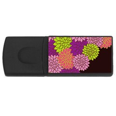 Floral Card Template Bright Colorful Dahlia Flowers Pattern Background Usb Flash Drive Rectangular (4 Gb) by Nexatart