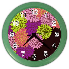 Floral Card Template Bright Colorful Dahlia Flowers Pattern Background Color Wall Clocks by Nexatart