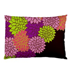 Floral Card Template Bright Colorful Dahlia Flowers Pattern Background Pillow Case by Nexatart