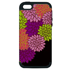 Floral Card Template Bright Colorful Dahlia Flowers Pattern Background Apple Iphone 5 Hardshell Case (pc+silicone) by Nexatart