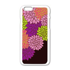 Floral Card Template Bright Colorful Dahlia Flowers Pattern Background Apple Iphone 6/6s White Enamel Case by Nexatart