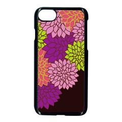 Floral Card Template Bright Colorful Dahlia Flowers Pattern Background Apple Iphone 7 Seamless Case (black) by Nexatart