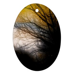 Tree Art Artistic Abstract Background Oval Ornament (two Sides)