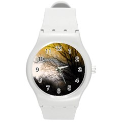 Tree Art Artistic Abstract Background Round Plastic Sport Watch (m) by Nexatart
