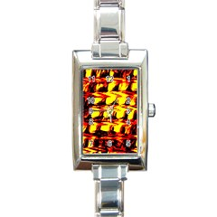 Yellow Seamless Abstract Brick Background Rectangle Italian Charm Watch
