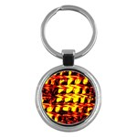 Yellow Seamless Abstract Brick Background Key Chains (Round)  Front