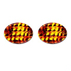 Yellow Seamless Abstract Brick Background Cufflinks (oval)