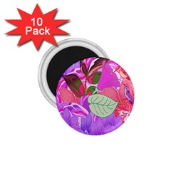 Abstract Design With Hummingbirds 1 75  Magnets (10 Pack)