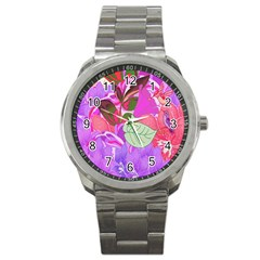 Abstract Design With Hummingbirds Sport Metal Watch by Nexatart