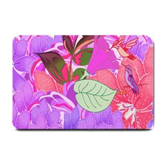 Abstract Design With Hummingbirds Small Doormat  by Nexatart