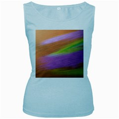 Metallic Brush Strokes Paint Abstract Texture Women s Baby Blue Tank Top by Nexatart