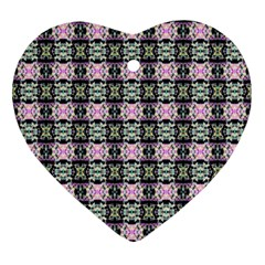 Colorful Pixelation Repeat Pattern Ornament (heart) by Nexatart