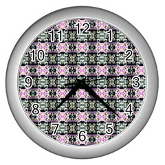 Colorful Pixelation Repeat Pattern Wall Clocks (silver)  by Nexatart