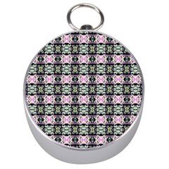 Colorful Pixelation Repeat Pattern Silver Compasses