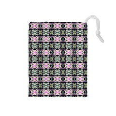 Colorful Pixelation Repeat Pattern Drawstring Pouches (medium)