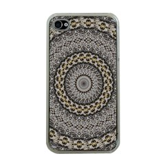 Celestial Pinwheel Of Pattern Texture And Abstract Shapes N Brown Apple Iphone 4 Case (clear)