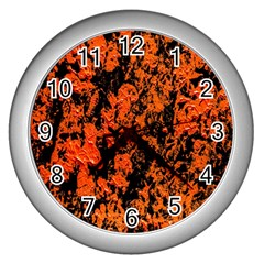 Abstract Orange Background Wall Clocks (silver)  by Nexatart