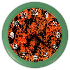 Abstract Orange Background Color Wall Clocks by Nexatart