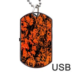 Abstract Orange Background Dog Tag Usb Flash (one Side) by Nexatart