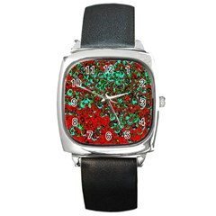 Red Turquoise Abstract Background Square Metal Watch by Nexatart