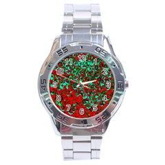 Red Turquoise Abstract Background Stainless Steel Analogue Watch