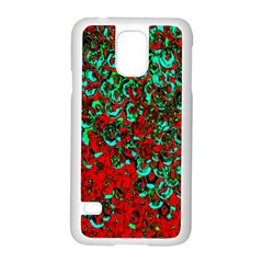 Red Turquoise Abstract Background Samsung Galaxy S5 Case (white) by Nexatart