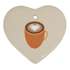 Artin Coffee Chocolate Brown Heart Love Ornament (heart) by Mariart