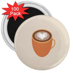 Artin Coffee Chocolate Brown Heart Love 3  Magnets (100 Pack) by Mariart