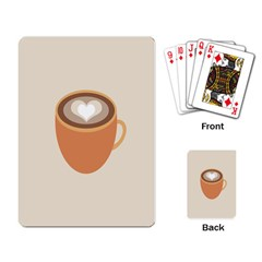 Artin Coffee Chocolate Brown Heart Love Playing Card by Mariart
