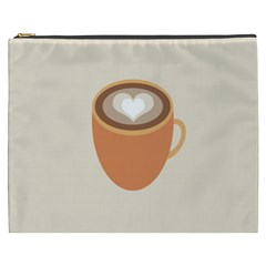 Artin Coffee Chocolate Brown Heart Love Cosmetic Bag (xxxl)  by Mariart
