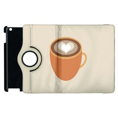 Artin Coffee Chocolate Brown Heart Love Apple Ipad 3/4 Flip 360 Case by Mariart
