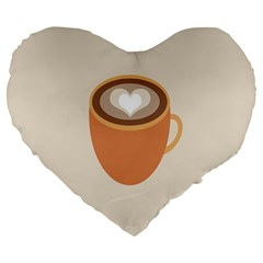 Artin Coffee Chocolate Brown Heart Love Large 19  Premium Heart Shape Cushions by Mariart