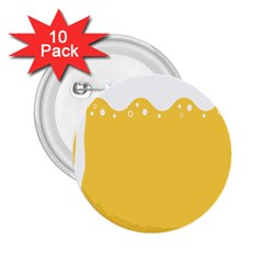 Beer Foam Yellow White 2 25  Buttons (10 Pack)