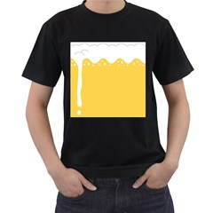 Beer Foam Yellow White Men s T Shirt (black) (two Sided) by Mariart