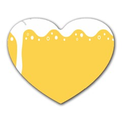 Beer Foam Yellow White Heart Mousepads by Mariart