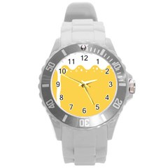Beer Foam Yellow White Round Plastic Sport Watch (l) by Mariart