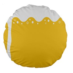 Beer Foam Yellow White Large 18  Premium Round Cushions by Mariart
