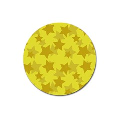 Yellow Star Magnet 3  (round) by Mariart