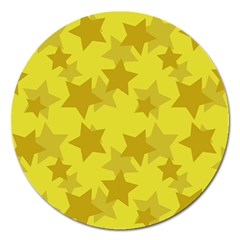Yellow Star Magnet 5  (round) by Mariart