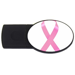 Breast Cancer Ribbon Pink Usb Flash Drive Oval (4 Gb) by Mariart