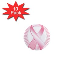 Breast Cancer Ribbon Pink Girl Women 1  Mini Magnet (10 Pack)  by Mariart