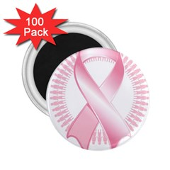 Breast Cancer Ribbon Pink Girl Women 2 25  Magnets (100 Pack)  by Mariart