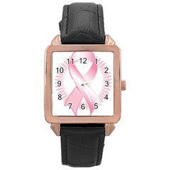Breast Cancer Ribbon Pink Girl Women Rose Gold Leather Watch  by Mariart