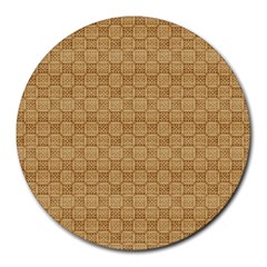 Chess Dark Wood Seamless Round Mousepads by Mariart