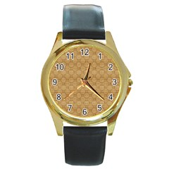Chess Dark Wood Seamless Round Gold Metal Watch by Mariart