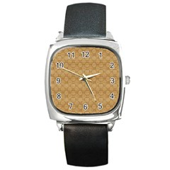 Chess Dark Wood Seamless Square Metal Watch by Mariart