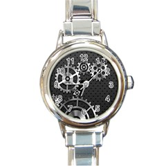 Chain Iron Polka Dot Black Silver Round Italian Charm Watch by Mariart