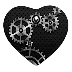 Chain Iron Polka Dot Black Silver Ornament (heart) by Mariart