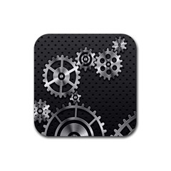 Chain Iron Polka Dot Black Silver Rubber Coaster (square)  by Mariart