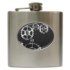 Chain Iron Polka Dot Black Silver Hip Flask (6 Oz) by Mariart